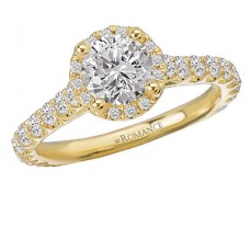 #WC117075-Y: 18k Yellow Gold, Round Brilliant Halo, Semi-Mount, Cathedral Diamond Engagement Ring