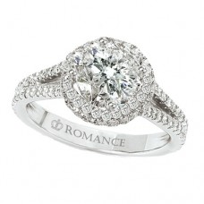 WC117078: 18k White Gold, Round Brilliant Halo, Split Shank, Cathedral Style, Semi-Mount Diamond Engagement Ring