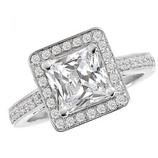 WC117085: 18k White Gold, Princess Cut Halo, Cathedral Filigree, Semi-Mount, Diamond Engagement Ring