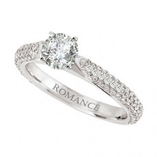 WC117092: 18k White Gold, Round Brilliant, Cathedral, Semi-Mount, Diamond Engagement Ring
