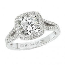 WC117101: 18k White Gold, Cushion Cut Double Halo, Cathedral Split Shank, Semi-Mount, Diamond Engagement Ring