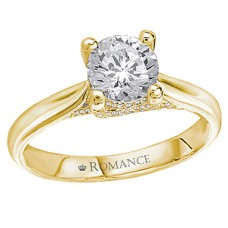 #WC117112-Y: 18k Yellow Gold, Round Brilliant Solitaire Trellis, Semi-Mount, Diamond Engagement Ring