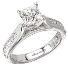 WC117162 18k White Gold, Princess Cut, Cathedral, Semi-Mount, Diamond Engagement Ring