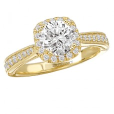 #WC117221-Y: 18k Yellow Gold, Cushion Cut Halo for Round Brilliant Diamond with Milgrain Detail, Semi-Mount, Engagement Ring
