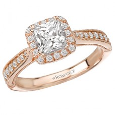 WC117222-R: 18k Rose Gold, Princess Cut Halo with Milgrain Detail, Semi-Mount, Diamond Engagement Ring