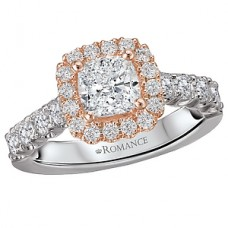 WC117404-TR: 18k White & Rose Gold, Cushion Halo for a Round Brilliant Diamond , Semi-Mount, Engagement Ring