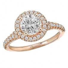WC117436-R: 18k Rose Gold, Round Brilliant Halo, Semi-Mount, Diamond Engagement Ring