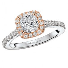 WC117488-TR: 18k White & Rose Gold, Cusion Cut Halo, Semi-Mount, Diamond Engagement Ring