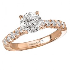 WC117495-R: 18k Rose Gold, Round Brilliant, Semi-Mount, Diamond Engagement Ring