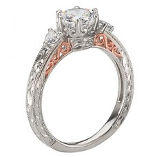 WC117556-TR: 18k White & Rose Gold, Round Brilliant 3-Stone, Filigree with Milgrain, Semi-Mount, Diamond Engagement Ring