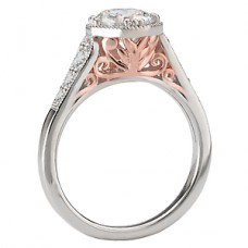WC117578-TR: 18k White & Rose Gold, Round Brilliant Halo, Filigree with Milgrain, Semi-Mount, Diamond Engagement Ring
