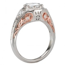 WC117584-TR: 18k White & Rose Gold, Round Brilliant Halo, Filigree with Milgrain, Semi-Mount, Diamond Engagement Ring