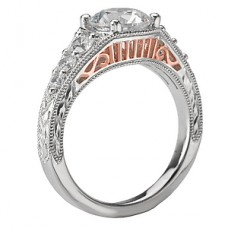 WC117632-TR: 18k White & Rose Gold, Round Brilliant, Filigree with Milgrain and Engraving, Semi-Mount, Diamond Engagement Ring