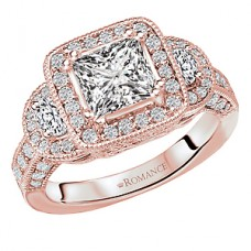 WC117757-R: 18k Rose Gold, 3-Stone, Princess Cut Triple Halo with Milgrain, Semi-Mount, Diamond Engagement Ring