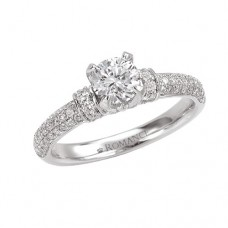 #WC118007 14k White Gold, Round Brilliant, Semi-Mount Engagement Ring