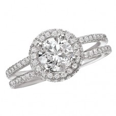 #WC118105  14k White Gold, Round Brilliant Halo, Split Shank, Semi-Mount Diamond Engagement Ring