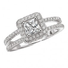 #WC118106  14k White Gold, Princess Cut Halo, Split Shank, Semi-Mount, Diamond Engagement Ring