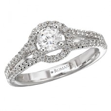 #WC118115 14k White Gold, Round Brilliant Halo, Split Shank, Cathedral, Semi-Mount, Diamond Engagement Ring
