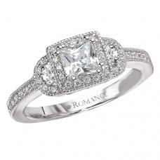 #WC118116  14k White Gold, 3-Stone Princess Cut Halo, Semi-Mount, DIamond Engagement Ring