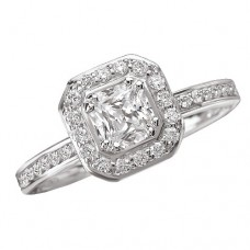 #WC118148  14K White Gold, Cushion Halo for Princess Cut Diamond, Semi-Mount Engagement Ring