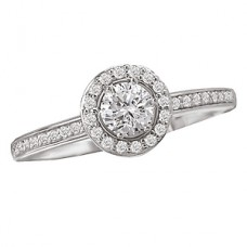 #WC118151 14K White-Gold Semi-Mount, Round Brilliant Halo, Diamond Engagement Ring