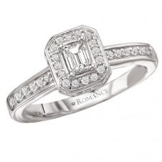 #WC118157  14K White Gold, Emerald Cut Halo. Semi-Mount, Diamond Engagement Ring