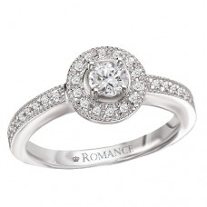#WC118171 14K White Gold, Round Brilliant Halo. Semi-Mount, Diamond Engagement Ring