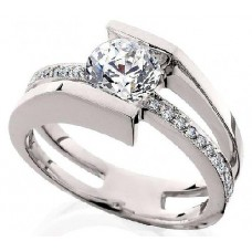 #HL-10554W Suspended Diamond Semi-Mount Wedding Ring