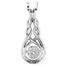 ##WROL1019 Dancing Diamond Pendant in Sterling Silver