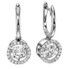 ##WROL1026 Dancing Diamonds Earrings in 10K White Gold - 1/5 ctw