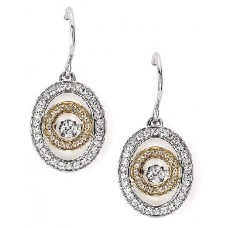 #SD13E31-.50 Dancing Diamonds Two-Tone Earrings 1/2ctw