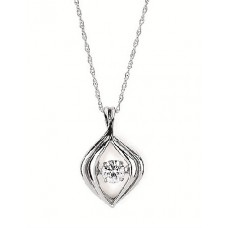 ##SD13P24-.16 Dancing Diamonds Pendant in 14k White Gold 1/5ctw