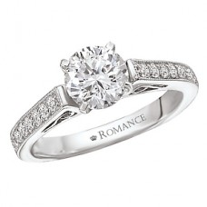 WC117065: 18k White Gold, Cathedral Style with Milgrain & Filigree Semi-Mount, Diamond Engagement Ring