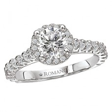 WC117075: 18k White Gold, Round Brilliant Halo, Semi-Mount, Cathedral Diamond Engagement Ring