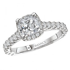 WC117077: 18k White Gold, Cushion Cut Halo, Cathedral Style, Semi-Mount, Diamond Engagement Ring