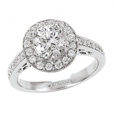 WC117084: 18k White Gold, Round Brilliant Halo, Cathedral Style with Filigree Detail, Semi-Mount Diamond Engagement Ring