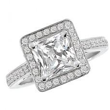 WC117085: 18k White Gold, Princess Cut Halo, Cathedral Filigree, Semi-Mount, Diamond Engagement Ring