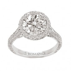 WC117098 18k White Gold, Round Brilliant Double Halo, Cathedral with Milgrain Detail, Semi-Mount, Diamond Engagement Ring