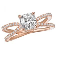 WC117111-R: 18k Rose Gold, Princess or Cushion Cut, Split Shank, Semi-Mount, Diamond Engagement Ring