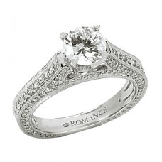 WC117161: 18k White Gold, Couture, Round Brilliant Cathedra with Milgrain Detaill, Semi-Mount, Diamond Engagement Ring