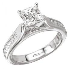 WC117162 18k White Gold, Princess Cut, Cathedral, Semi-Mount, Diamond Engagement Ring