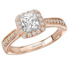 WC117222-R: 18k Rose Gold, Princess Cut Halo with Milgrain Detail, Semi-Mount, Diamond Engagement Ring