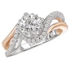 WC117508-TR: 18k White & Rose Gold, Round Brilliant Swirl Halo, Semi-Mount, Diamond Engagement Ring