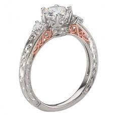WC117556-TR: 18k White & Rose Gold, Round Brilliant 3-Stone, Filigree with Milgrain, Semi-Mount, Diamond Engagement Ring