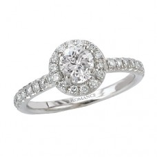 #WC118002 14k White Gold, Round Brilliant, Halo, Semi-Mount Engagement Ring