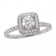 #WC118005 14k White Gold, Square Halo, Round or Princess, Semi-Mount Engagement Ring