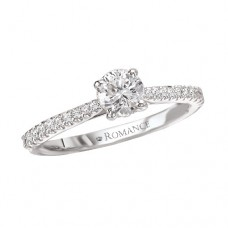 #WC118011  14k White Gold, Round Brilliant, Semi-Mount, Diamond Engagement Ring