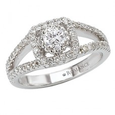 #WC118013: 14k White Gold, Square Halo for a Round Brilliant Diamond , Split Shank, Semi-Mount, Engagement Ring