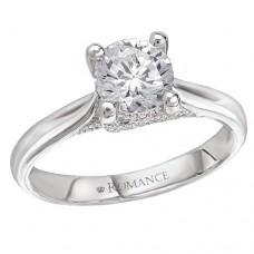 #WC118016 14k White Gold, Trellis Solitaire, Semi-Mount, Diamond Engagement Ring
