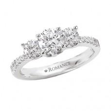 #WC118022 14k White Gold, 3-Stone, Semi-Mount, Diamond Engagement Ring